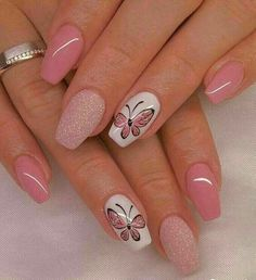 100 Beautiful Butterfly Nail Art Designs and Colors - Spring Nails Butterfly Nail Designs, Butterfly Nail Art, Butterfly Colors, Trendy Nail Art, Cool Nail Art, Latest Nail Art, Diy Nails, Cute Nails, Nail Nail