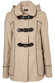 Metal Clasp Hooded Coat - StyleSays