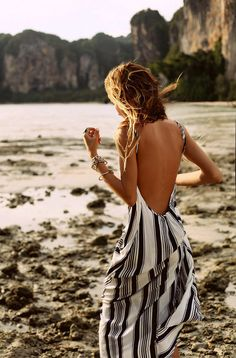 striped maxi beach dress omg need! Backless Maxi Dresses, Striped Maxi Dresses, Sun Dresses, Peplum Dresses, Woman Dresses, Daytime Dresses, Casual Dresses, Flowy Summer Dresses, Casual Outfits