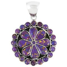 Purple Turquoise Flower Pendant Sterling Silver Jewelry