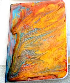 Pin Now to View Later #free tutorial DIY ; Playing with #Pebeo Prisme paints | it is easy to do and makes stunning marbled painted #journal covers, #mixed media art , and #tags, Must see