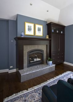 slate blue walls with dark brown wood and yellow accents i need to - Slate Blue Living Room Ideas