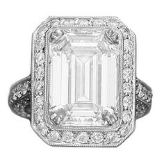 Amazing 7.45 carat Emerald Cut GIA Diamond White Gold Wedding Ring