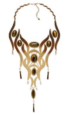Jewelry Design - Bib-Style Necklace with Tiger Eye Gemstone Cabochons, Seed Beads and Swarovski Crystal - Fire Mountain Gems and Beads Jewelry Crafts, Jewelry Art, Beaded Jewelry, Handmade Jewelry, Beaded Necklace, Jewelry Design, Gemstone Jewelry, Ideas Joyería, Tigers Eye Gemstone