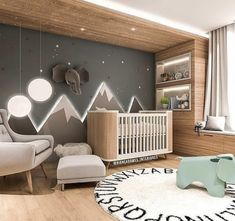 Baby Room Inspiration Illuminated Mountains The post Baby Room Inspiration Illuminated Mountains appeared first on kinderzimmer. Baby Bedroom, Baby Boy Rooms, Baby Room Decor, Baby Boy Nurseries, Kids Bedroom, Nursery Decor, Nursery Room Ideas, Baby Nursery Ideas For Boy, Nursery Grey