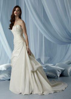 Taffeta Strapless Softly Curved Neckline Corset Bodice A-line Wedding Dress