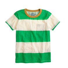 Boys' ringer pocket tee in wide stripe Crewcuts
