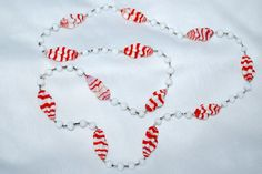 Vintage Milk White and Red Striped Glass Beads by TheSoul on Etsy, $38.00