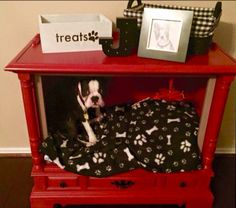 I chalk painted the old tv console and made it into a dog bed for Jax..