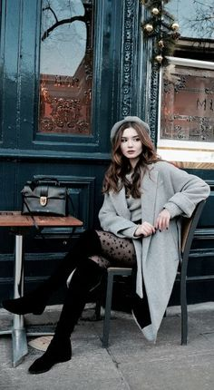 Lolita Masagutova + sweet and feminine + Parisian inspired outfit + grey beret + coat + starry tights + extra touch of whimsy + casual street style look.  Jumper: H&M, Skirt: Zara, Beret: Topshop, Bag: Louis Vuitton, Tights: Calzedonia, Boots: Stuart Weitzman #dressescasual