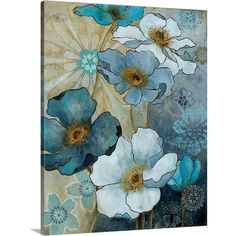 Carol Robinson Solid-Faced Canvas Print Wall Art Print entitled Blue Demin Garden I Fabric Painting, Painting Prints, Wall Art Prints, Canvas Prints, Framed Prints, Watercolor Flowers, Watercolor Paintings, Acrylic Flowers, Flower Paintings