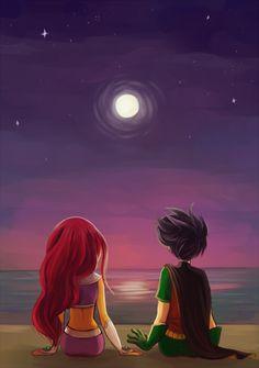 Robin e Estrelar de mãos dadas na praia..á noite!Que lindo!