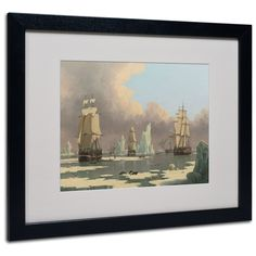 'The Northern Whale Fishery' by John Ward Matted Framed Painting Print