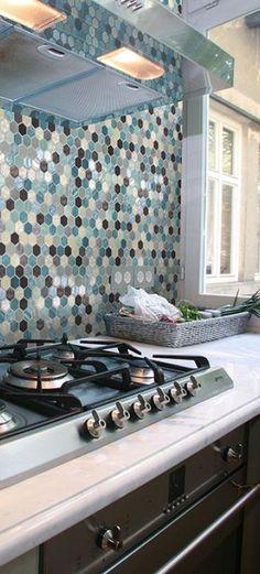 Backsplash w kuchni mozaika heksagony Onix Ambiente Hexagonal Aquamarine - Onix Mosaico