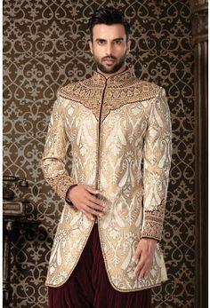 IndoWestern Sherwani-Off White & Gold-Zardosi Arab Men Fashion, Men's Fashion, Off White, White Gold, Zardosi Work, Wedding Dress Men, Wedding Sherwani, Indian Man, Rio