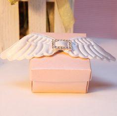 Ali d'angelo rosa matrimonio bomboniera Candy Box, carta partito fai da te bomboniera, Candy con nastro bianco Ali
