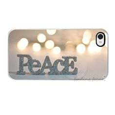 Peace iPhone 4 4s Case, Original Dreamy Photography Bokeh Case, Silver Gold Glitter Holiday Word Art Hard i Phone Cover, Gift Idea Under 50. $32.00, via Etsy.  So Cute