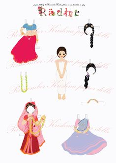 Paper Doll Radha with 3 outfits - Remember Krishna with craft activities by RememberKrishna on Etsy