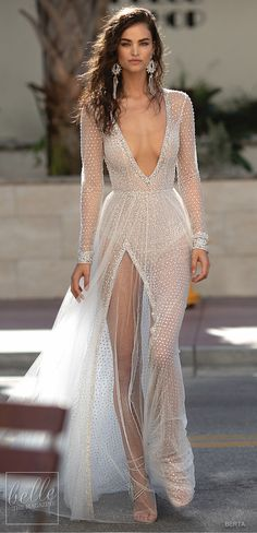 BERTA Spring 2019 Wedding Dresses Miami Bridal Collection. Sparkling deep-v wedding dress embellished, sequin tulle skirt. Long sleeve illusion bridal gown for a modern bride. Sexy Beach bridal dress open back. #weddingdress #weddingdresses #bridalgown #bridal #bridalgowns #weddinggown #bridetobe #weddings #bride #weddinginspiration #weddingideas #bridalcollection #bridaldress #fashion #dress See more gorgeous bridal gowns by clicking on the photo