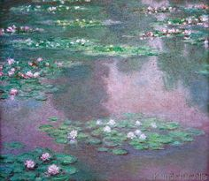 Claude Monet - Nymphéas. The day l saw a framed poster of this painting in a Santa Barbara shop's window was the day that I fell in love with Monet. To see the actual painting in Boston was truly thrilling!