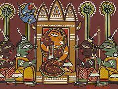 Ancient Indian Art, Indian Folk Art, Indian Artist, Mughal Paintings, Indian Art Paintings, Madhubani Art, Madhubani Painting, Bengali Art, Rajasthani Art