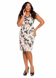 Ashley Stewart Women's Plus Size Abstract Print Shift Dress Cool Bisque 22  www.curvydress.com #plussize #dress #fashion