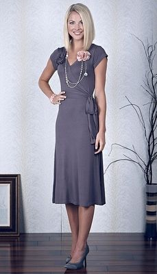 """Kristy"" Modest Dresses in Stone--nursing dress for breastfeeding mothers."