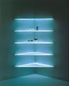 glass shelf lighting. Lighting Concepts, Design, Ideas, Futuristic Furniture, Closet Shelves, Storage Glass Floating Design Concepts Shelf