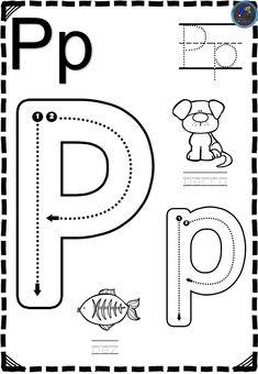 Fichas Abecedario direccional - Imagenes Educativas Letter P Activities, Letter Worksheets For Preschool, Preschool Writing, Kindergarten Math Worksheets, Phonics Worksheets, Preschool Curriculum, Kids Writing, Preschool Learning, Writing Skills