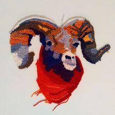 Beautiful Animal #Art from Etsy #Crochet Portrait Artist KatikaCrochetArt  - ram