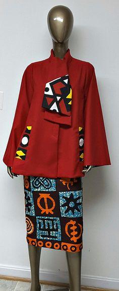 African Print Red Wool Scarf Neck Jacket. Handmade. Fall Clothing. Ankara | Dutch wax | Kente | Kitenge | Dashiki | African print bomber jacket | African fashion | Ankara bomber jacket | African prints | Nigerian style | Ghanaian fashion | Senegal fashion | Kenya fashion | Nigerian fashion | Ankara crop top (affiliate)