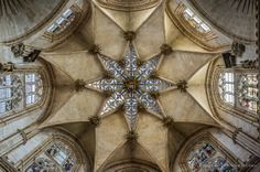 detail of the vault of Burgos Cathedral, Spain, masterpiece of Spanish gothic architecture with undeniable French and German influences. The cathedral had been built  in two phases: 1220-1260 and the completion during the 16th century. UNESCO World Heritage List