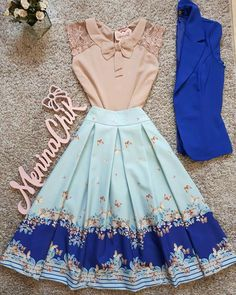Would love if this if the skirt was just above the knee! Pretty Outfits, Pretty Dresses, Beautiful Dresses, Cool Outfits, Casual Outfits, Cute Fashion, Modest Fashion, Fashion Dresses, 90s Fashion
