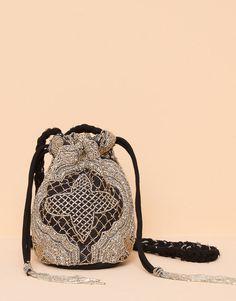 Pull&Bear - mujer - bolsos y carteras - minibolso beads fiesta - negro - 05821300-V2016