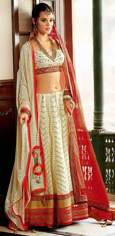 Augment your charming persona clad in this butter cream shade net lehenga choli. The ethnic bead, moti, resham and stones work for the clothing adds a sign of beauty statement with your look. Lehenga Saree Design, Net Lehenga, Bridal Lehenga Choli, Lehenga Designs, Wedding Chaniya Choli, Lehenga Online Shopping, Choli Designs, Lehenga Collection, Prom