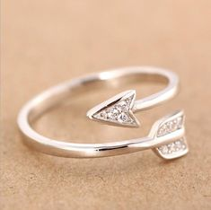 Shuangshuo 2017 New Arrival Fashion Silver Plated Arrow crystal rings for women Adjustable Engagement ring arrow women