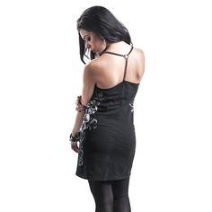 """#Abito corto """"Chain Dress"""" della collezione Rock Rebel by EMP nero con spalline sottili a catena, ampio teschio stampato sulla parte frontale e vestibilità piuttosto aderente."""