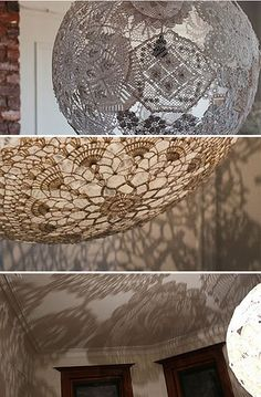Lace Doily DIY Light Fixture I am doing this for my new light fixtures! Doily Lamp, Lace Lampshade, Paper Doilies, Crochet Doilies, Crochet Lamp, Diy Crochet, Diy Y Manualidades, Diy Couture, Lampshades