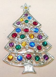 Early Signed Eisenberg Ice Christmas Tree Pin Brooch Must See