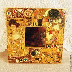 Купить Зеркало сувенирное-настенное - золотой, зеркало, зеркало настенное, деревянные заготовки, Климт