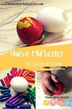 Huevo Multicolor con Crayones Reciclados Plastic Cutting Board, Eggs, Crafty, Breakfast, Food, Ideas, Broken Crayons, Crafts For Kids, How To Make