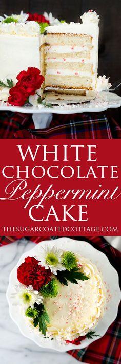 White Chocolate Peppermint Cake recipe. Lush white chocolate and cool, crisp peppermint make for a wonderfully delightful cake recipe. | thesugarcoatedcottage.com