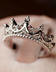 Silver Diamond Imperial Crown Ring 5.93  www.sheinside.com