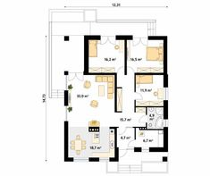 Projekt domu As 2 - rzut parteru Small House Floor Plans, Bungalow House Plans, Family House Plans, Bungalow House Design, Home And Family, One Storey House, Beautiful House Plans, Simple House Design, Facade House