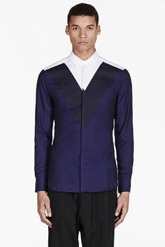 Neil Barrett Navy & White Colorblocked Shirt for men | SSENSE