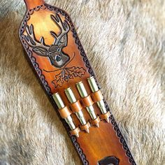 Custom leather rifle sling with ammo slots Sewing Leather, Leather Belts, Leather Tooling, Tooled Leather, Turkey Drawing, Hunting Gear, Hunting Rifles, Leather Rifle Sling, Bourbon And Boots