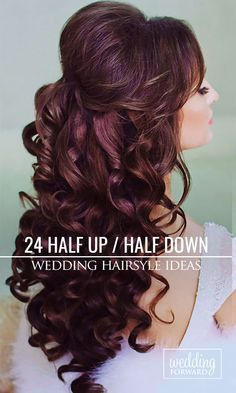24 Stunning Half Up Half Down Wedding Hairstyles ❤ These elegant curly half up/half down hairstyles look amazing with hair accessories or on their own. See more: http://www.weddingforward.com/half-up-half-down-wedding-hairstyles-ideas/ #wedding #bride #weddinghairstyles