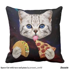Space Cat with taco and pizza Pillow