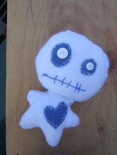 White VooDoo Pin Cushion Plushie Felt Doll Check by GiacomoDesigns, $12.00