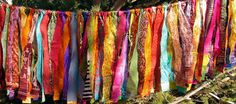 Gypsy Fringe All Sari Exotic Flag Garland By the Foot!!  2 to 8 feet in length